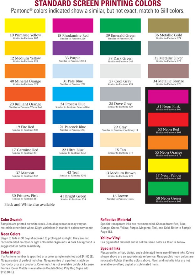 Decal Standard Ink Colors Web Page Colors