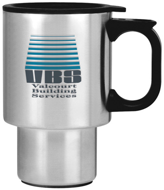 custom imprinted stainless steel travel mugs