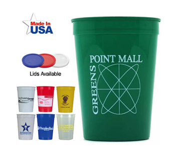 custom imprinted, promotional, personalized, advertising plastic stadium cups, printed, travel,  trade show & convention